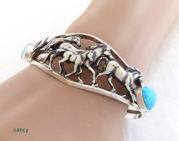 Image 1 of   Sterling Silver & Turquoise Horse Bracelet Native American Jewelry - 1407rb