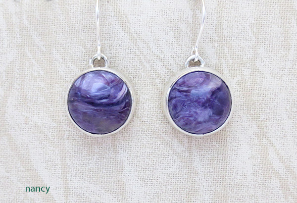 Image 0 of Charoite & Sterling Silver Earrings Native American Jewelry - 1421sn