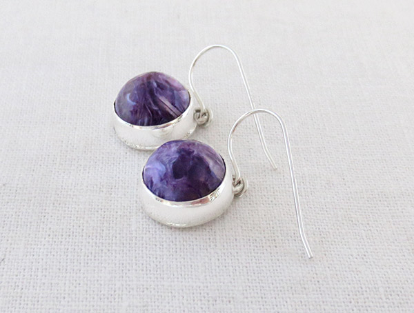 Image 1 of Charoite & Sterling Silver Earrings Native American Jewelry - 1421sn