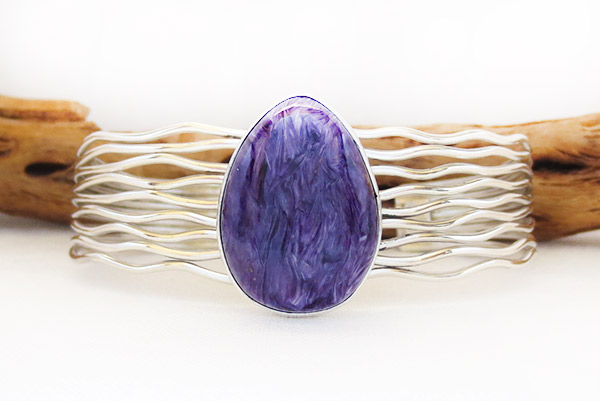 Image 0 of Charoite & Sterling Silver Bracelet Native American Jewelry - 1418sn