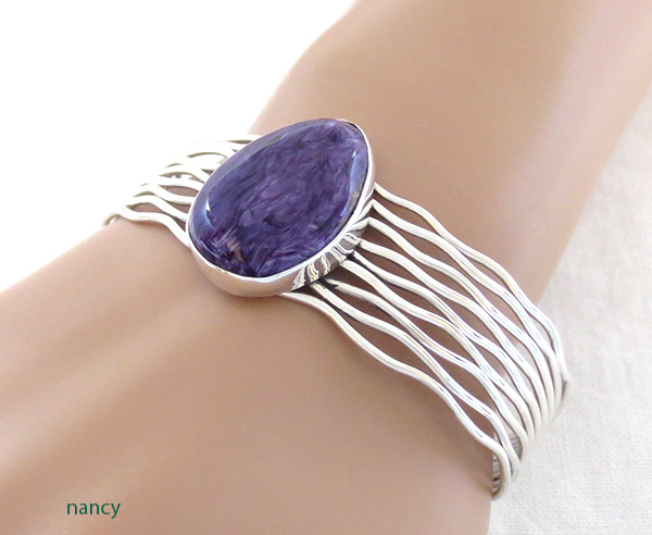 Image 1 of Charoite & Sterling Silver Bracelet Native American Jewelry - 1418sn