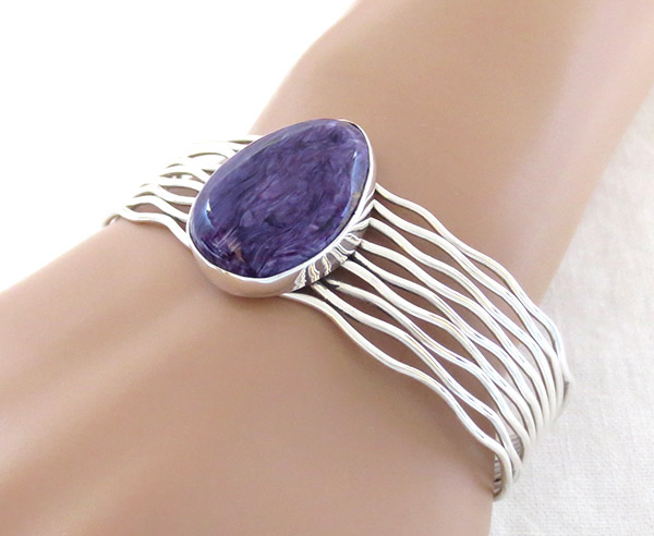 Charoite & Sterling Silver Bracelet Native American Jewelry - 1418sn