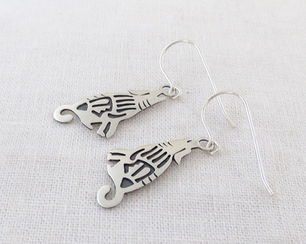 Image 1 of Sterling Silver Coyote Earrings Native American Jewelry - 1420sn