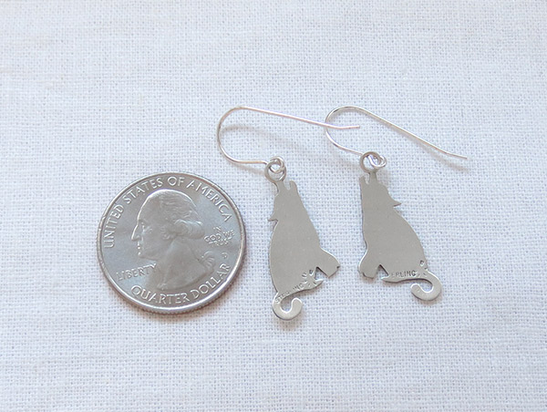 Image 2 of Sterling Silver Coyote Earrings Native American Jewelry - 1420sn