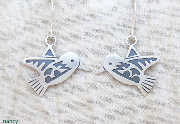 Sterling Silver Hummingbird Earrings Navajo Jewelry - 1417sn