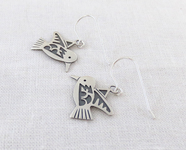 Image 1 of  Sterling Silver Hummingbird Earrings Navajo Jewelry - 1417sn