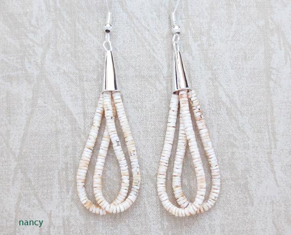 Fine Clam Shell Heishi Earrings Santo Domingo Jewelry - 1450rio