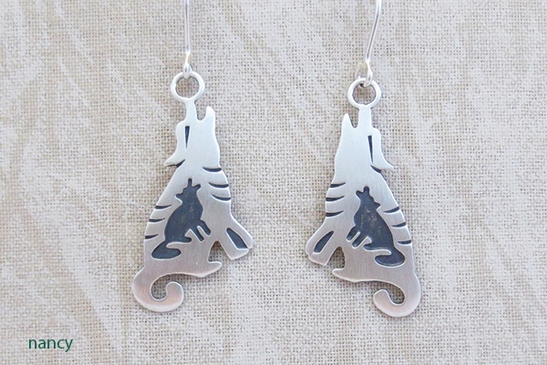 Image 0 of   Sterling Silver Coyote Earrings Native American Jewelry - 1448sn