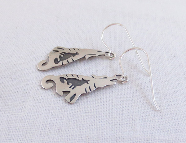 Image 1 of   Sterling Silver Coyote Earrings Native American Jewelry - 1448sn
