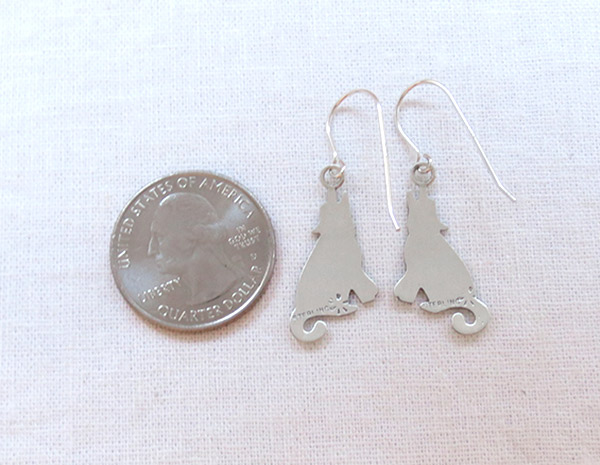 Image 2 of   Sterling Silver Coyote Earrings Native American Jewelry - 1448sn