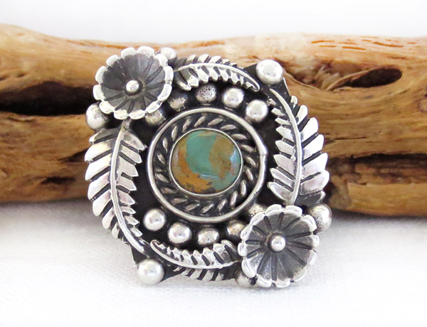 Native American  Jewelry Turquoise & Sterling Silver Flower Ring Sz 11 - 1446dt