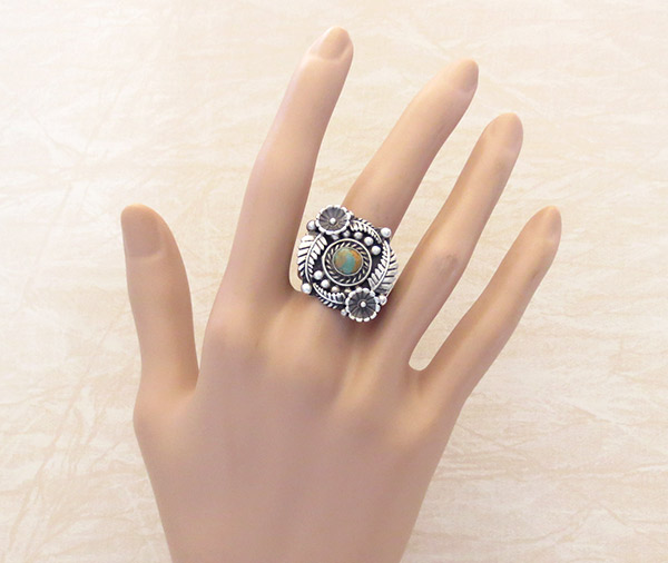 Image 1 of Native American  Jewelry Turquoise & Sterling Silver Flower Ring Sz 11 - 1446dt