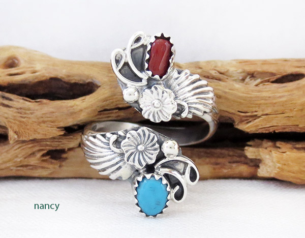 Turquoise Coral Sterling Silver Adjustable Ring Native American Jewelry - 1435rb