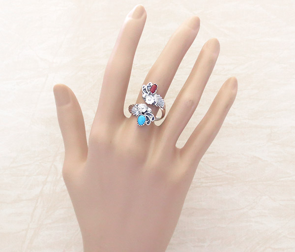 Image 1 of Turquoise Coral Sterling Silver Adjustable Ring Native American Jewelry - 1435rb