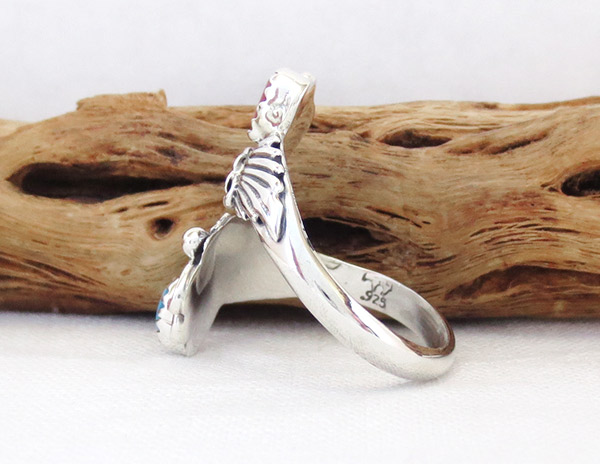 Image 2 of Turquoise Coral Sterling Silver Adjustable Ring Native American Jewelry - 1435rb