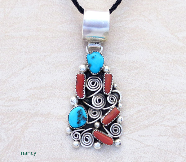 Turquoise Coral & Sterling Silver Pendant Native American Jewelry - 1451rb