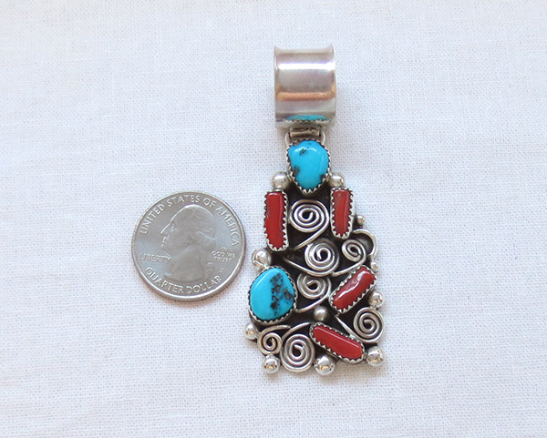 Image 1 of    Turquoise Coral & Sterling Silver Pendant Native American Jewelry - 1451rb