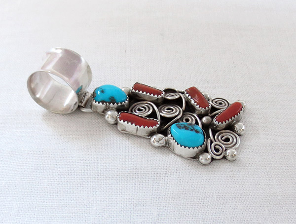 Image 2 of    Turquoise Coral & Sterling Silver Pendant Native American Jewelry - 1451rb