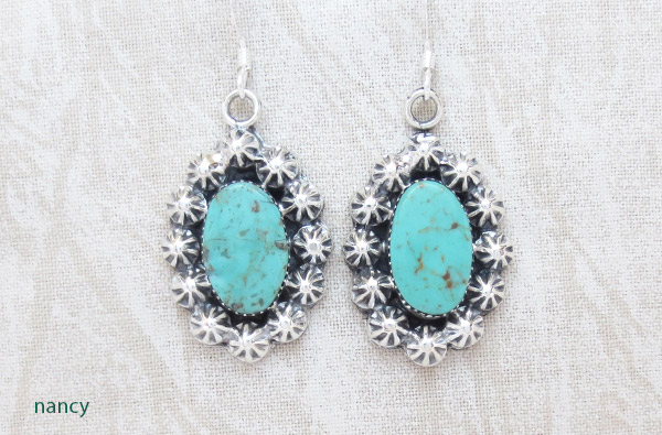 Image 0 of     Turquoise & Sterling Silver Earrings Native American Jewelry - 1426rb
