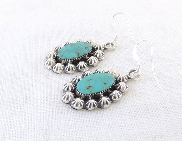 Image 1 of     Turquoise & Sterling Silver Earrings Native American Jewelry - 1426rb