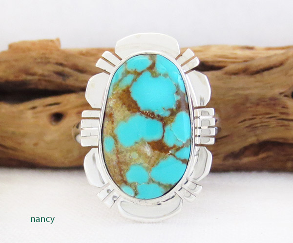 Native American Jewelry #8 Mine Turquoise & Sterling Silver Sz 8 - 1454sn