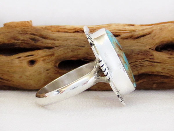 Image 2 of      Navajo Jewelry #8 Mine Turquoise & Sterling Silver Sz 8 - 1454sn