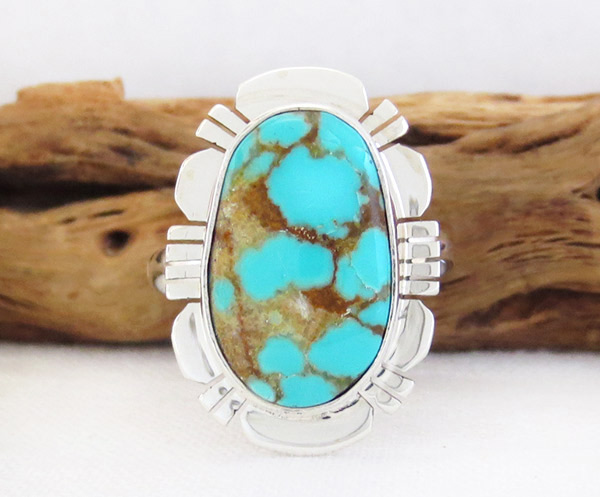 Navajo Jewelry #8 Mine Turquoise & Sterling Silver Sz 8 - 1454sn