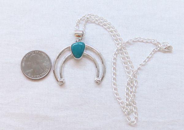 Image 1 of Turquoise & Sterling Silver Naja Pendant Native American Jewelry - 1458sn