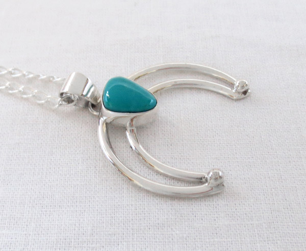 Image 2 of     Turquoise & Sterling Silver Naja Pendant Native American Jewelry - 1458sn