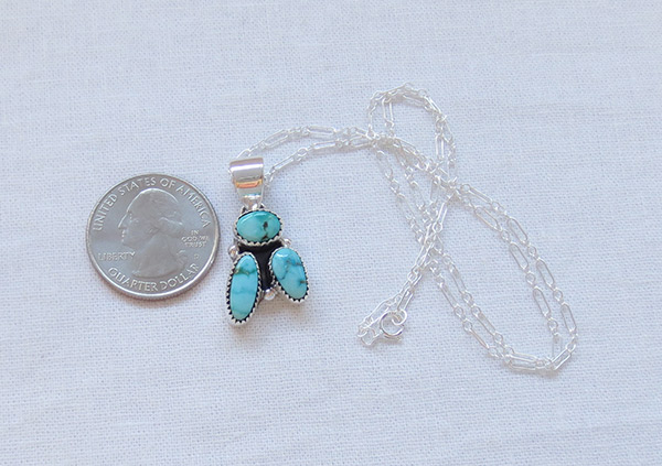 Image 1 of Small Turquoise & Sterling Silver Pendant Native American Jewelry - 1462sn