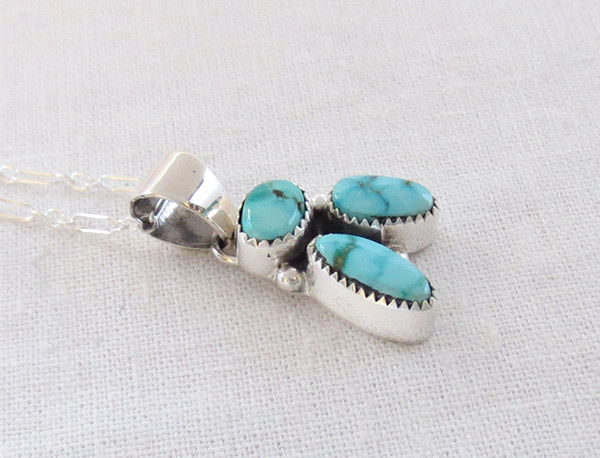 Image 2 of Small Turquoise & Sterling Silver Pendant Native American Jewelry - 1462sn