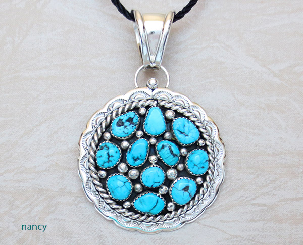 Image 0 of      Big Native American Jewelry Turquoise & Sterling Silver Pendant - 1464sn
