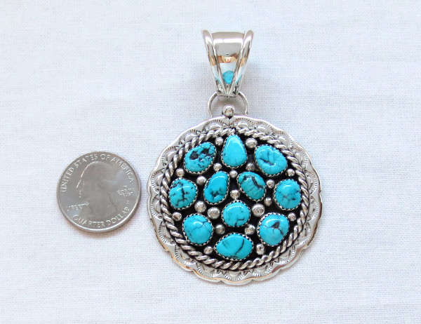 Image 1 of   Big Native American Jewelry Turquoise & Sterling Silver Pendant - 1464sn