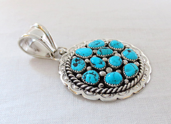 Image 2 of   Big Native American Jewelry Turquoise & Sterling Silver Pendant - 1464sn