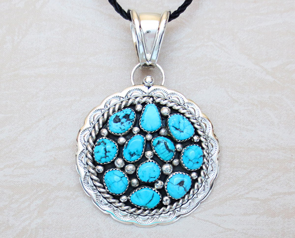 Big Native American Jewelry Turquoise & Sterling Silver Pendant - 1464sn