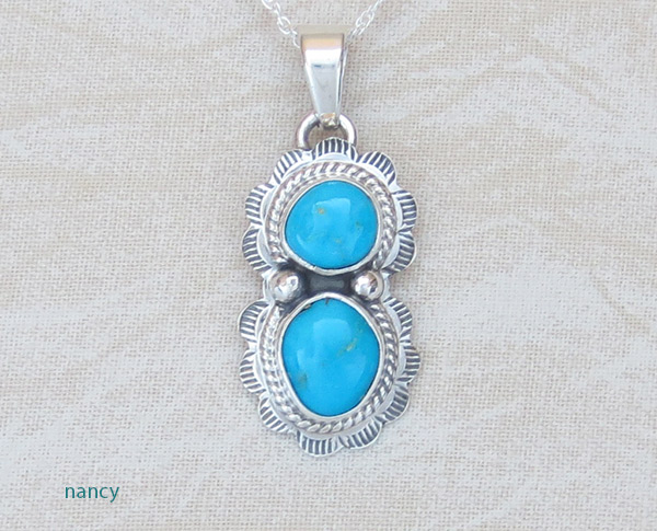 Image 0 of     Small Turquoise & Sterling Silver Pendant Native American Jewelry - 1468sn