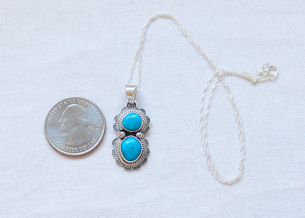 Image 1 of     Small Turquoise & Sterling Silver Pendant Native American Jewelry - 1468sn
