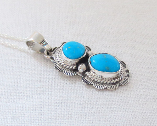 Image 2 of Small Turquoise & Sterling Silver Pendant Native American Jewelry - 1468sn