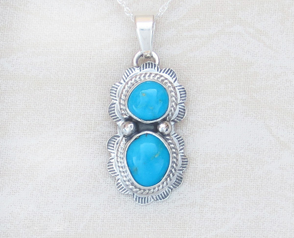 Small Turquoise & Sterling Silver Pendant Native American Jewelry - 1468sn