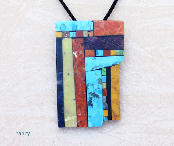Turquoise Stone Inlay Pendant Native American Kewa Jewelry - 1460mlt