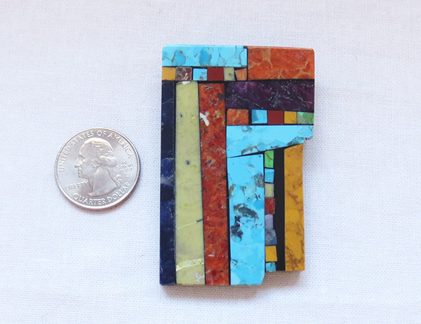 Image 1 of    Turquoise Stone Inlay Pendant / Pin Native American Kewa Jewelry - 1460mlt