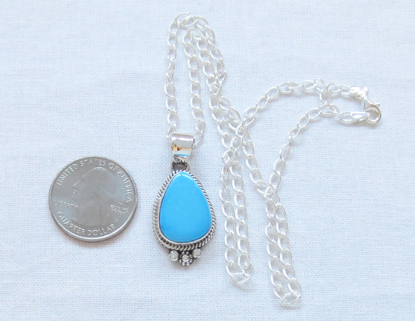 Image 1 of        Turquoise & Sterling Silver Pendant Native American Jewelry - 1469sn