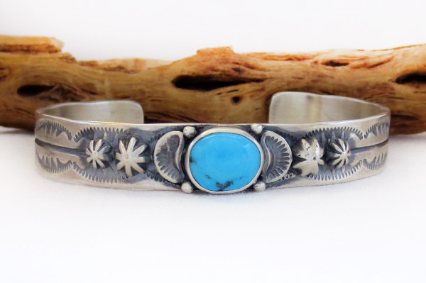 Turquoise & Sterling Silver Bracelet Native American Jewelry - 1467at