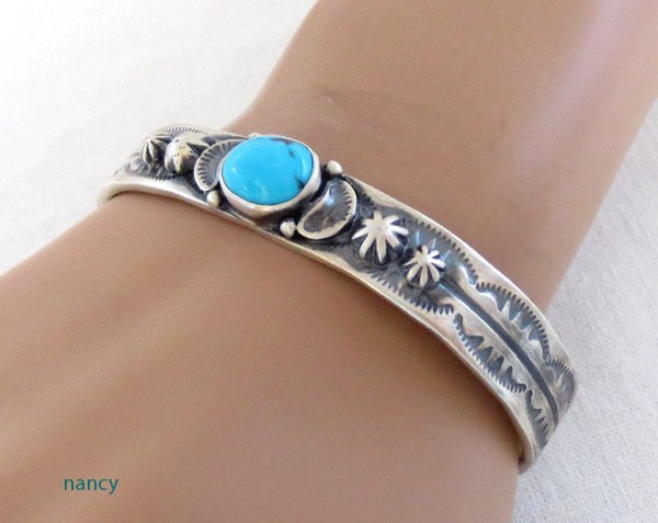 Image 1 of Turquoise & Sterling Silver Bracelet Native American Jewelry - 1467at