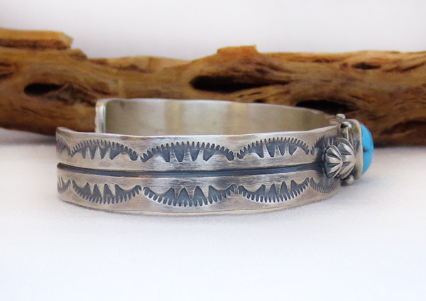 Image 2 of Turquoise & Sterling Silver Bracelet Native American Jewelry - 1467at