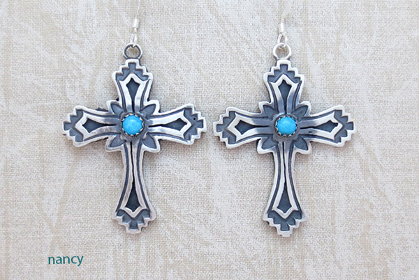 Image 0 of     Turquoise & Sterling Silver Cross Earrings Native American- 1461rb