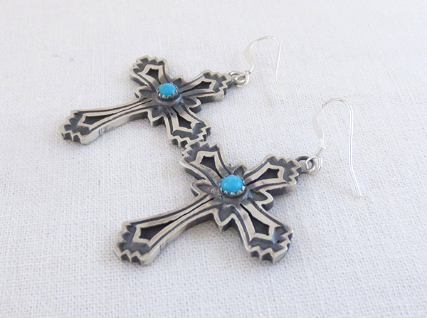 Image 1 of     Turquoise & Sterling Silver Cross Earrings Native American- 1461rb