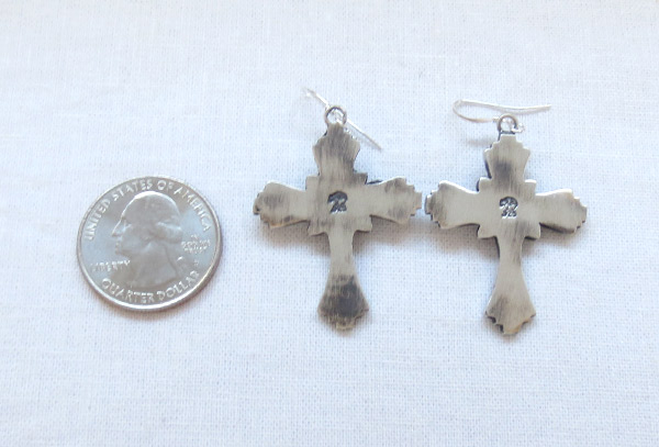 Image 2 of     Turquoise & Sterling Silver Cross Earrings Native American- 1461rb