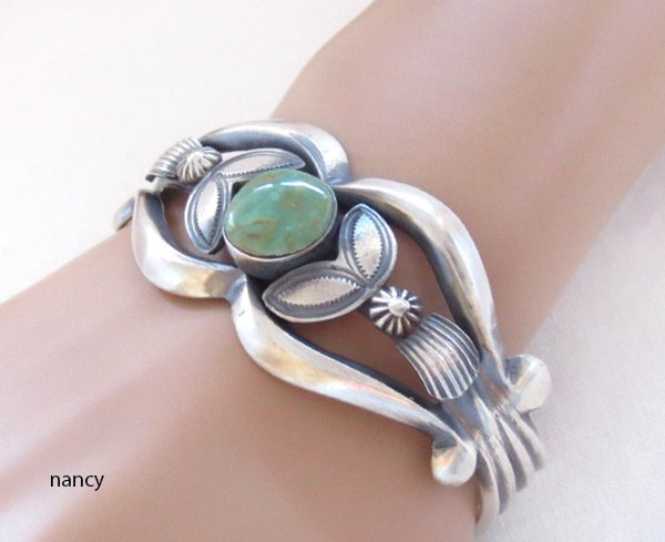 Image 1 of Sterling Silver & Turquoise Bracelet Native American Jewelry - 2301rb