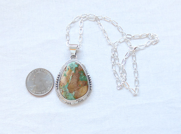 Image 1 of     Boulder Turquoise & Sterling Silver Pendant Native American Jewelry - 2305sn